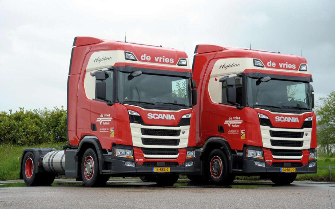 Transport Online – Twee Scania R410 LNG trucks voor de Vries Hallum